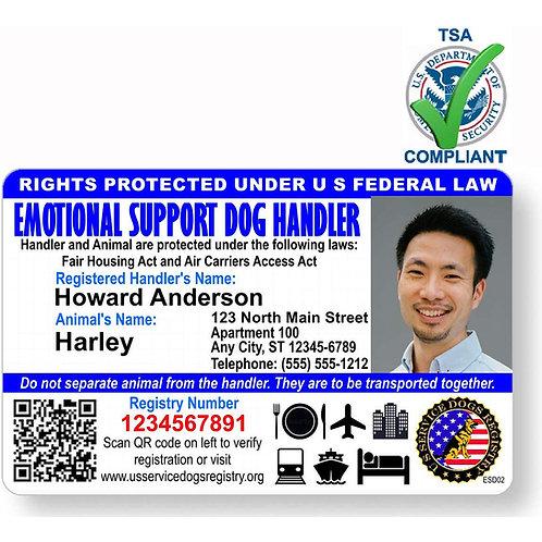 Custom Holographic QR Code Handler Emotional Support Dog ID Card - Landscape