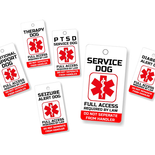 Service, ESA, PTSD, and Therapy Dog Key & Collar Tag for ADA & FHact