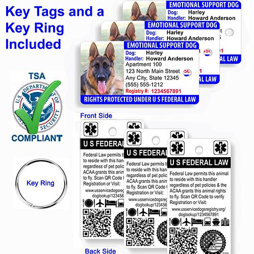 Custom Holographic Emotional Support Dog Key Tag ID Card  (Set of 3)