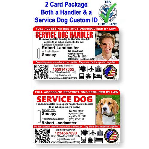 Custom Holographic QR Code Service Dog/Handler ID Card - Landscape