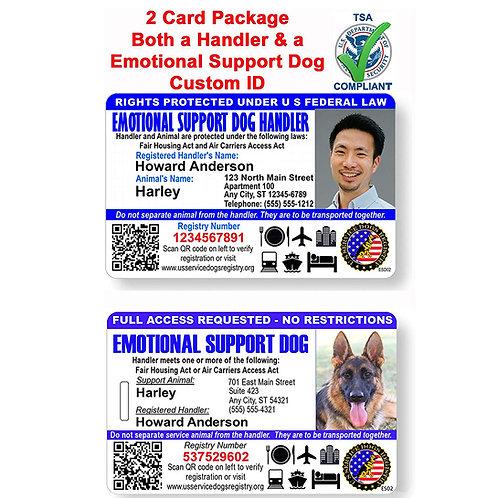 Custom Holographic QR Code ESA Dog ID Card - Handler/Dog Package- Landscape