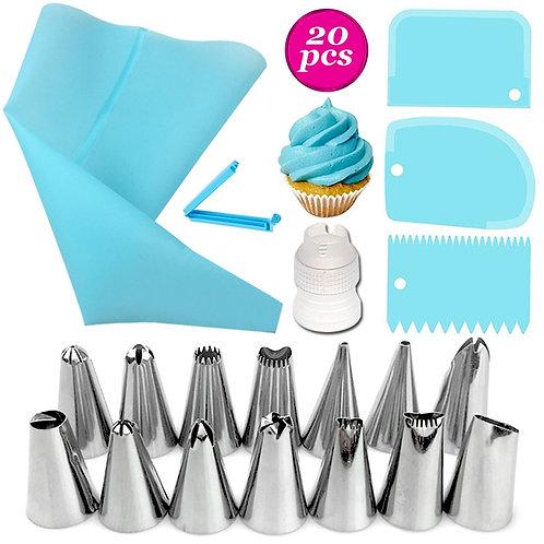 Set Stainless Steel+Plastic Cakes Decoration Pastry Nozzle Set