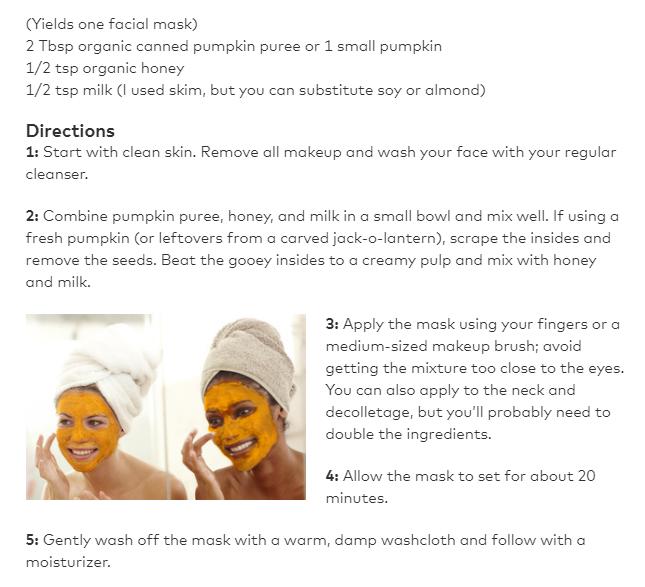 Beautylish screenshot pumpkin mask recipe
