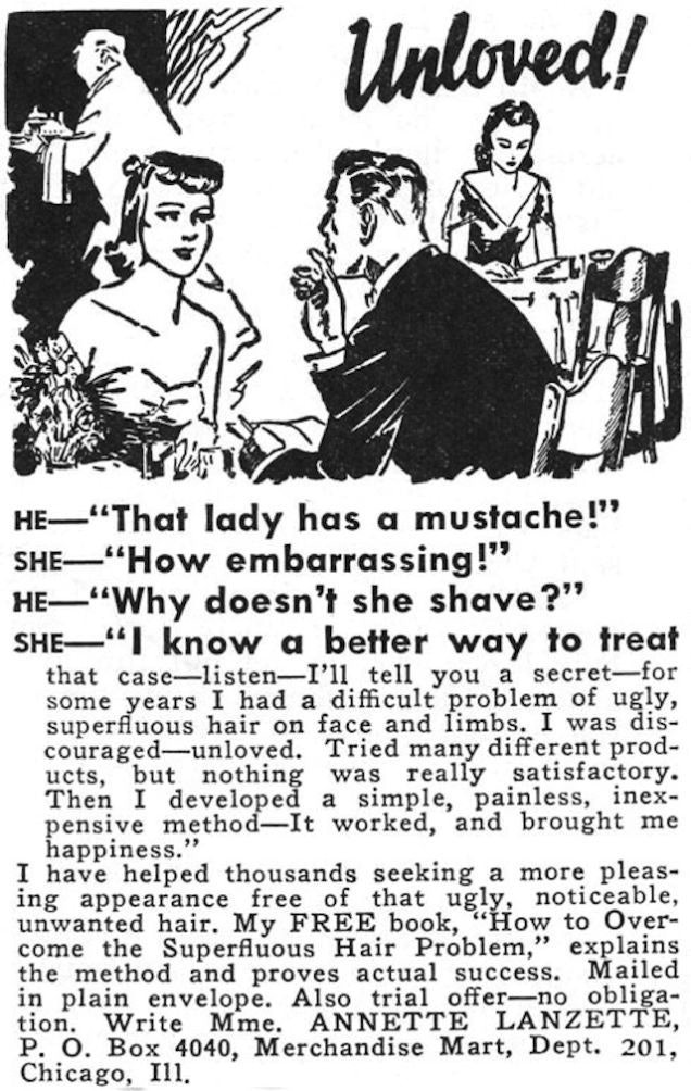 Sexist 30s hair removal ad