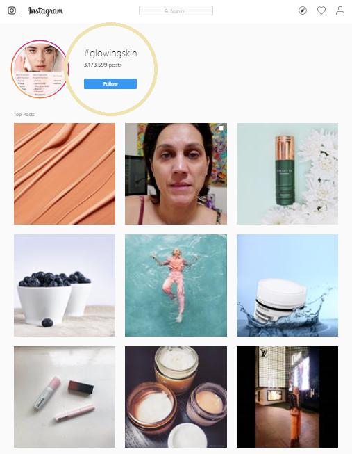 #glowingskin instagram screenshot
