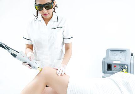 Laser hair removal on leg