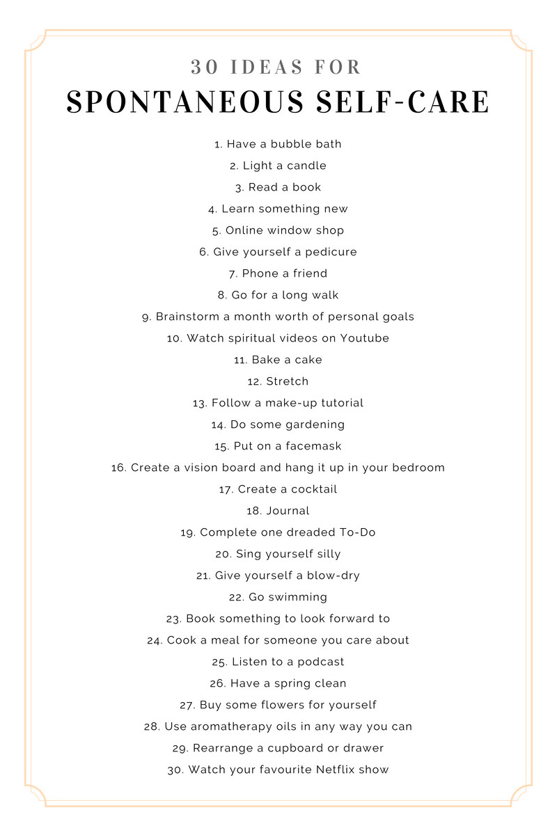 30 ideas for spontaneous self-care30 ideas for spontaneous self-care