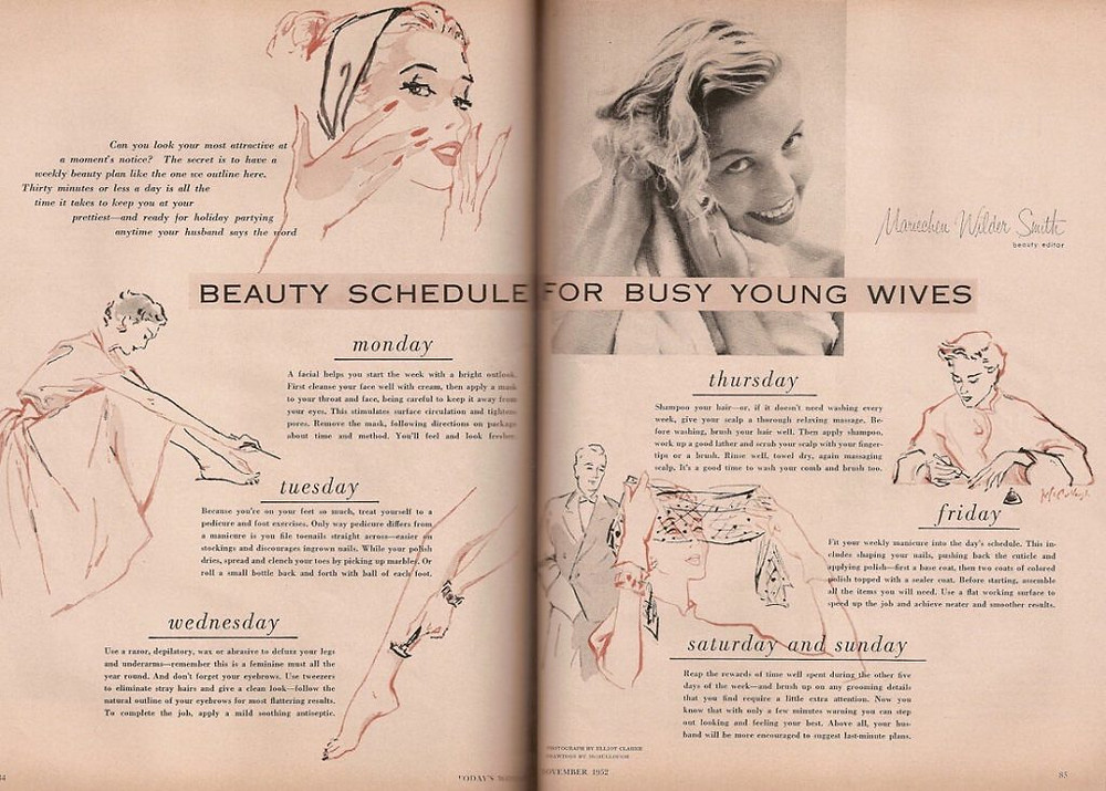 Beauty schedule for busy young wives 1950s