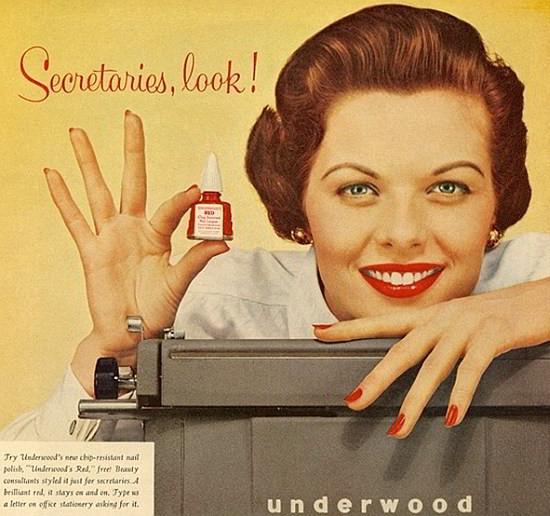 Secretaries look nail polish 1950s advert