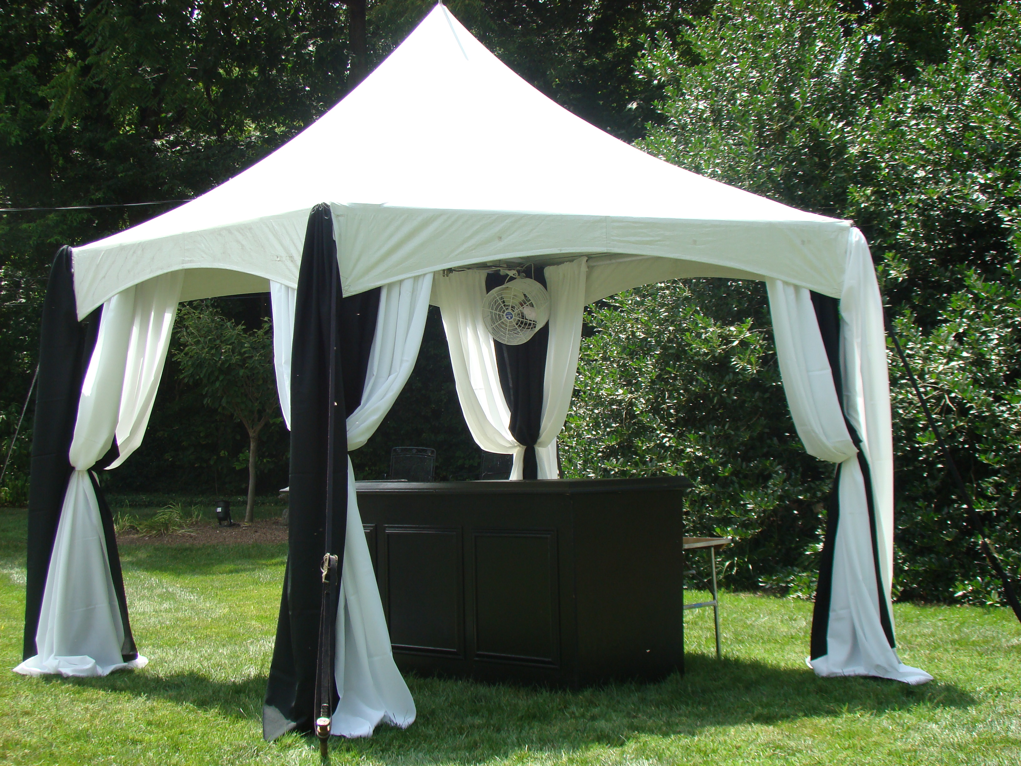 tent pole draping white and Black0114