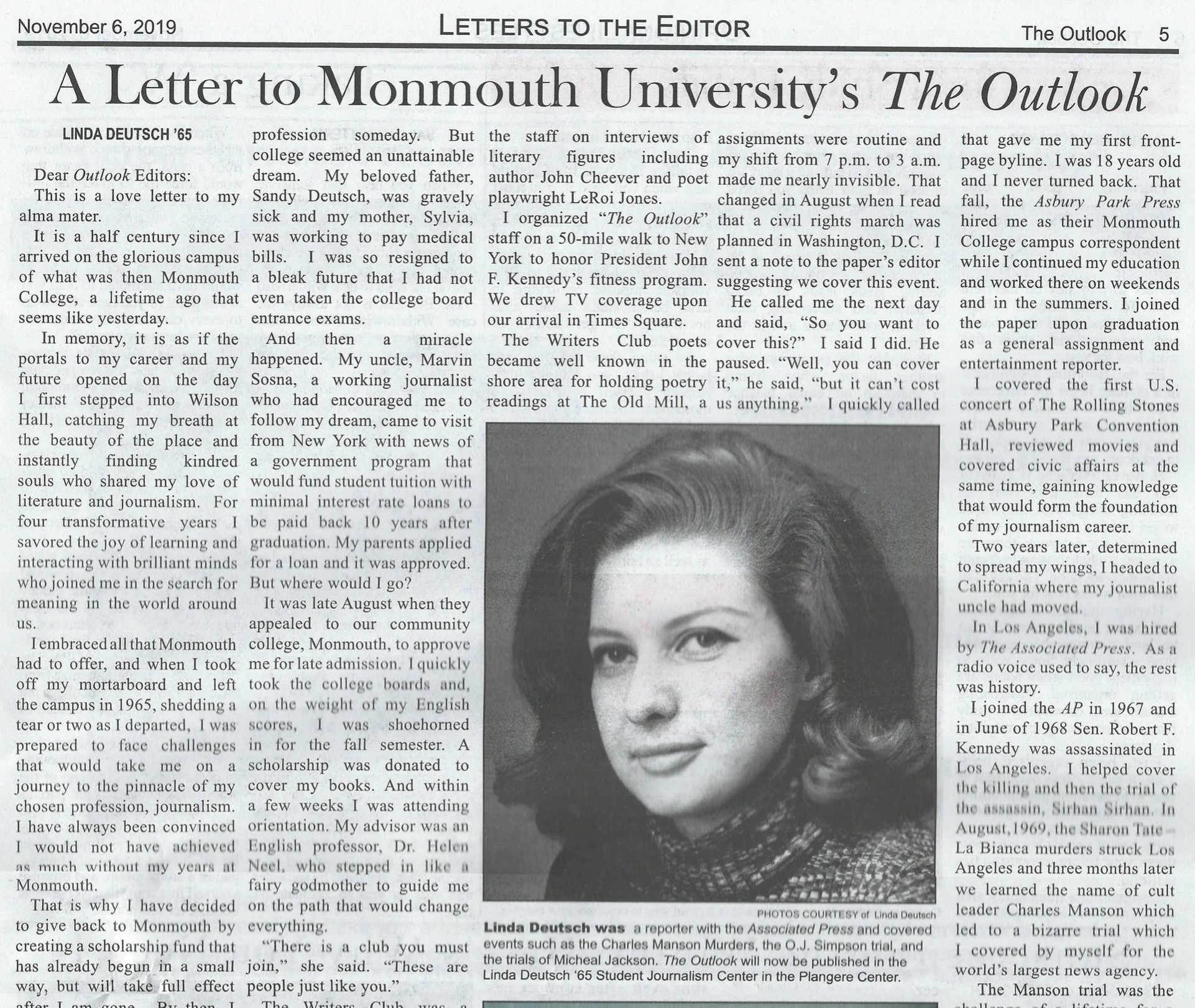 A Letter to Monmouth University