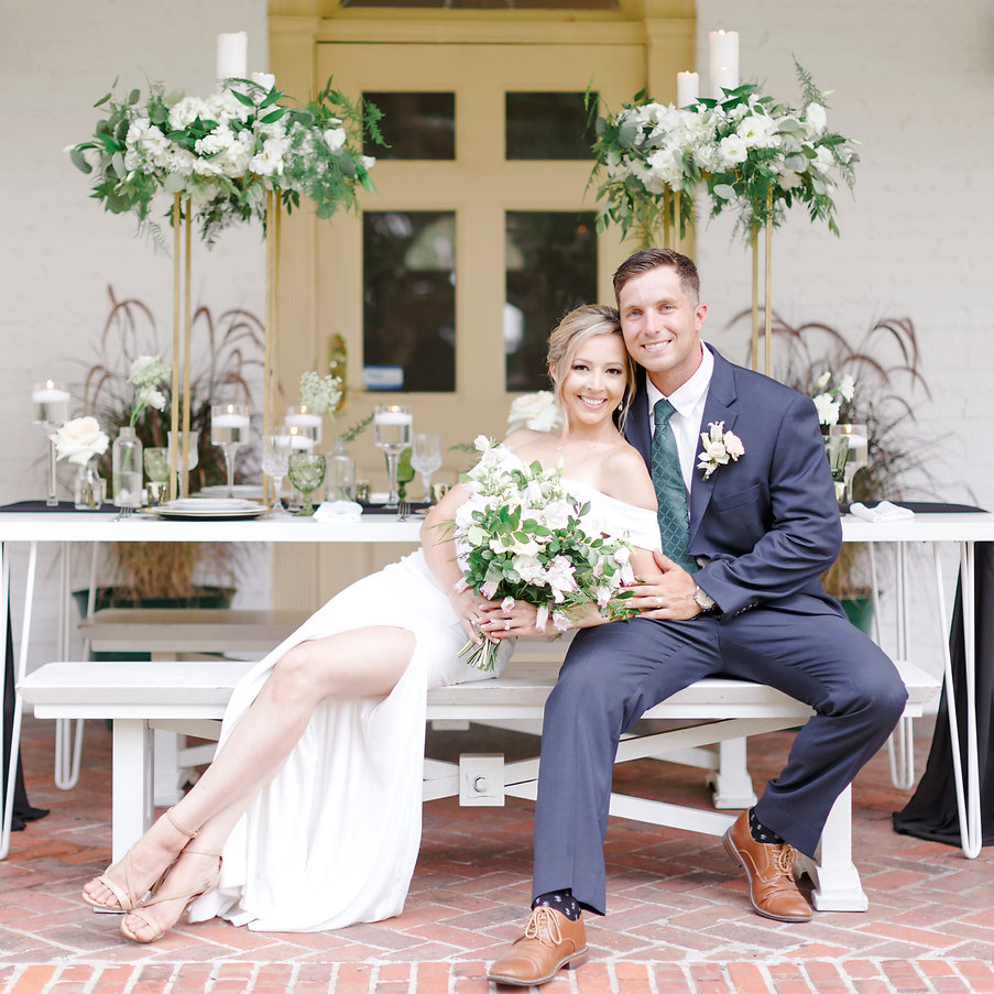 Happy Bride and Groom at Ribault Club in Jacksonville, FL