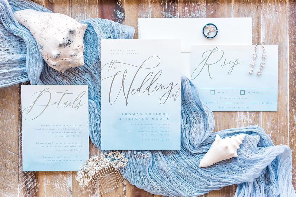 Beach themed wedding invitations