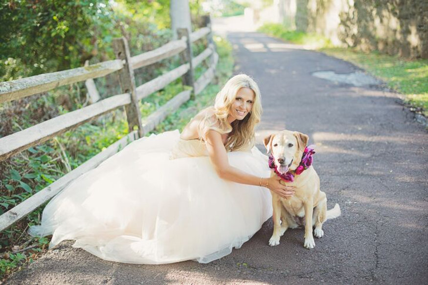 Bride with dog with pink flower dog collar.JPG
