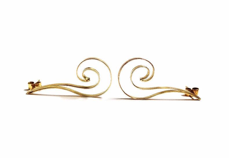 Brincos de ouro pintados a mão - Coleção Dripping - Amora Creative Jewellery