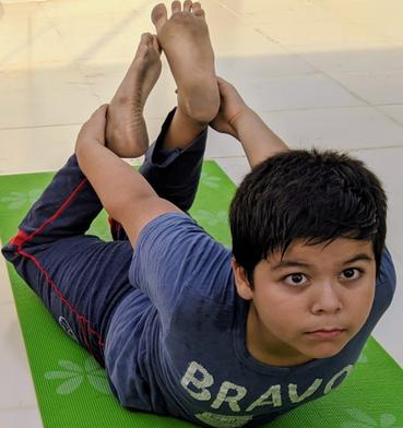 Shaurya exercising