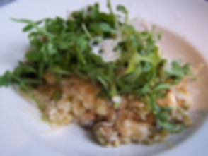 Chicken &Mushroom Risotto topped with Rocket Salad Michelle Boehm nutritional therapy nutritionist London recipes healthy