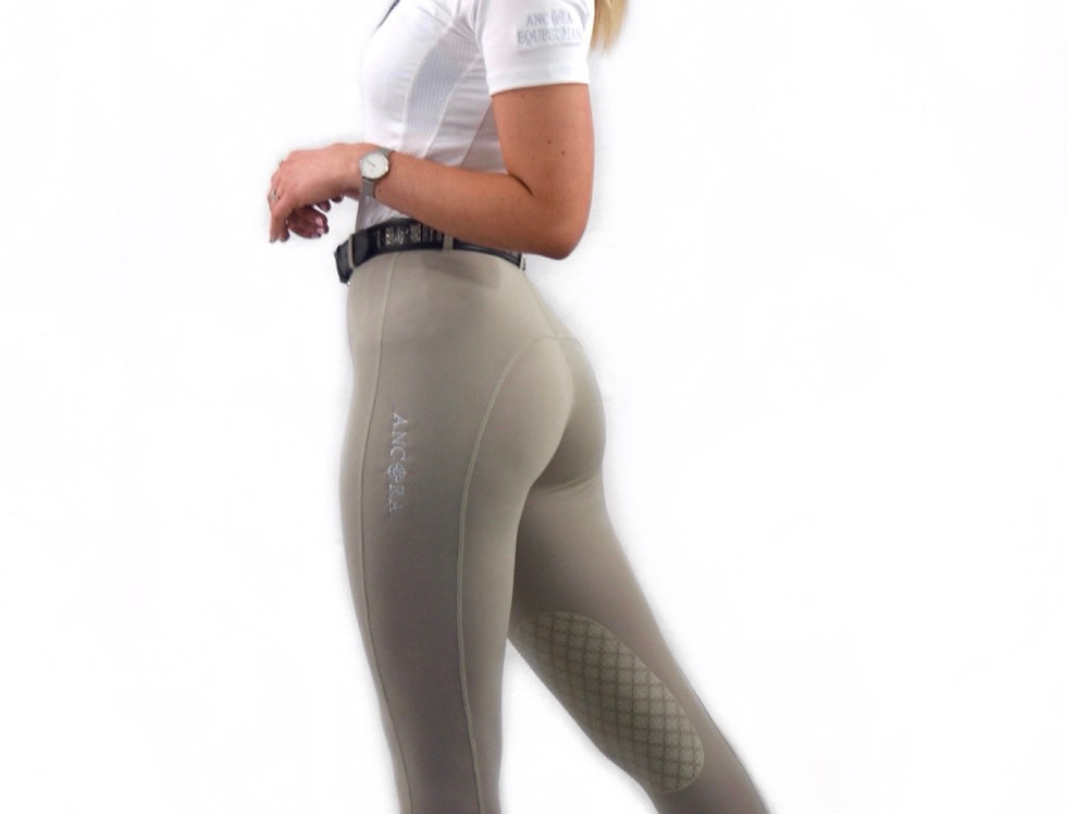 Beige Knee Grip Competition Leggings