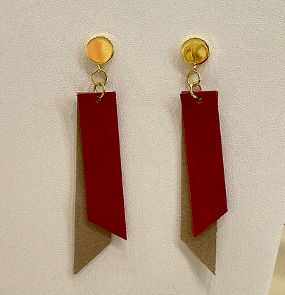 Red & Tan Leather Earrings
