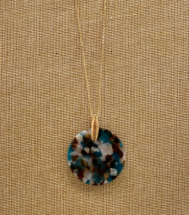 Teal Tortoise Disc Long Necklace