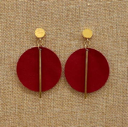 Red Leather& Gold Earrings