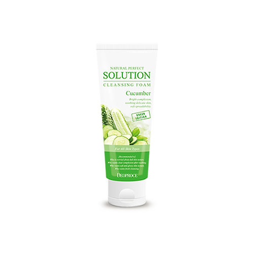 DEOPROCE Natural Perfect Solution Cleansing Foam - Cucumber, 170g