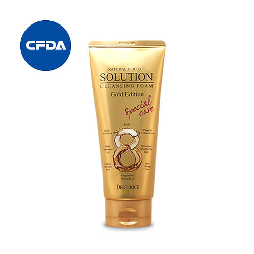 DEOPROCE Natural Perfect Solution Cleansing Foam - Gold Edition, 170g