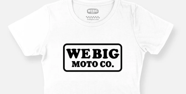 WEBIG MOTO CO CROP WHITE TEE