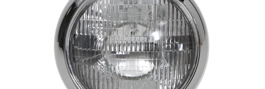 "Black 7"" K Headlamp with Chrome Rim"