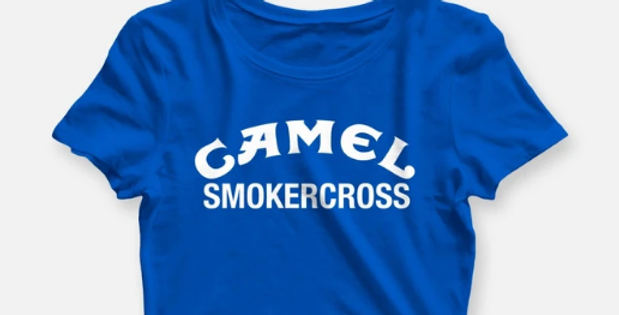 WOMENS CAMEL SMOKERCROSS CROP TEE BLUE