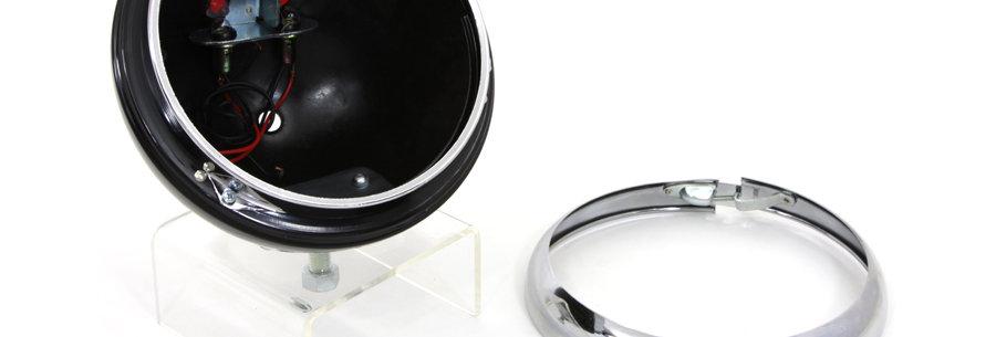 "Black 7"" K Headlamp Housing with Chrome Rim"