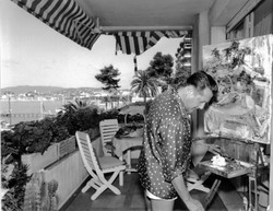 Berea on the balcony in Cannes, 1960
