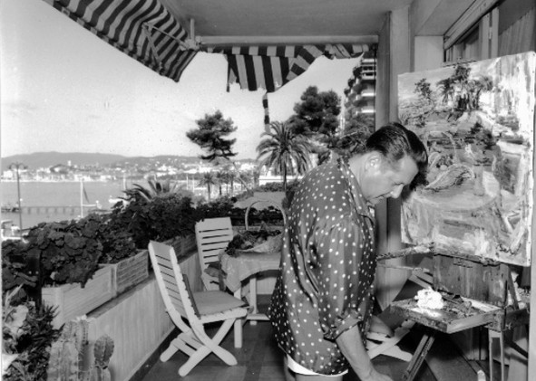On the terace, Cannes, 1960