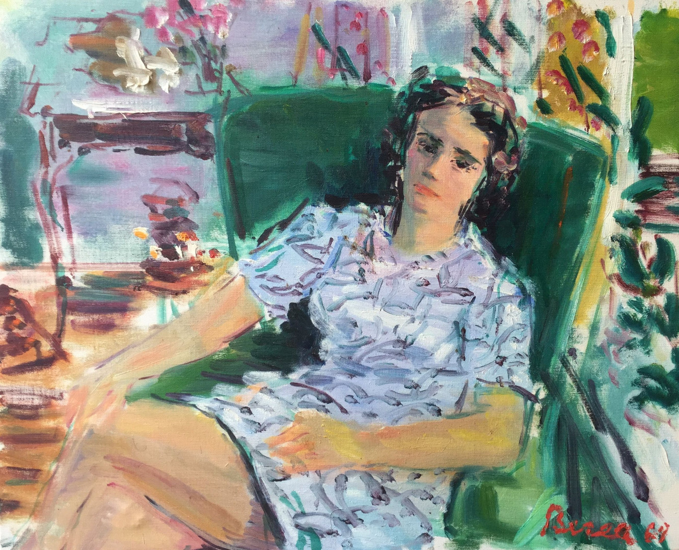 Lady on green armchair, 1969