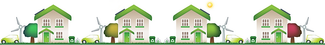Logo of ecoNomy - A graffic image of four houses in a row