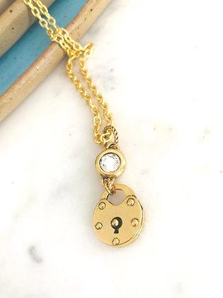 Swarovski Crystal & Golden Lock Necklace
