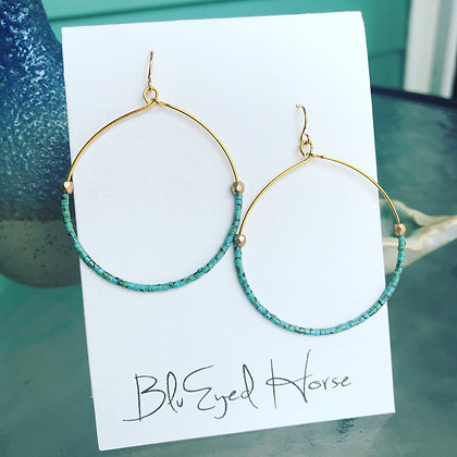 Tiny Turquoise Beaded Hoops