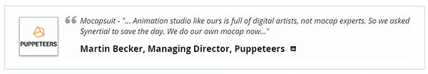 G5 Mocapsuit Clients - Puppeteers - Anim Studio Like Ours is Full Of Digital Artists So We Asked Synertial To Save The Day...