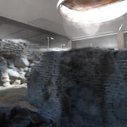 Ruiny oryginalnej świątynie w podziemiach dziedzińca starego zamku Batorego w Grodnie.