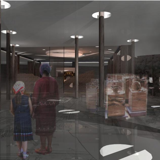 Wnętrze muzeum archeologicznego w podziemach dziedzińcu starego zamku Batorego w Grodnie