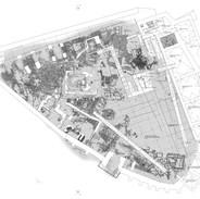 układ planu Muzeum Archeologicznego w podziemiach dziedzińca starego zamku Batorego w Grodnie.