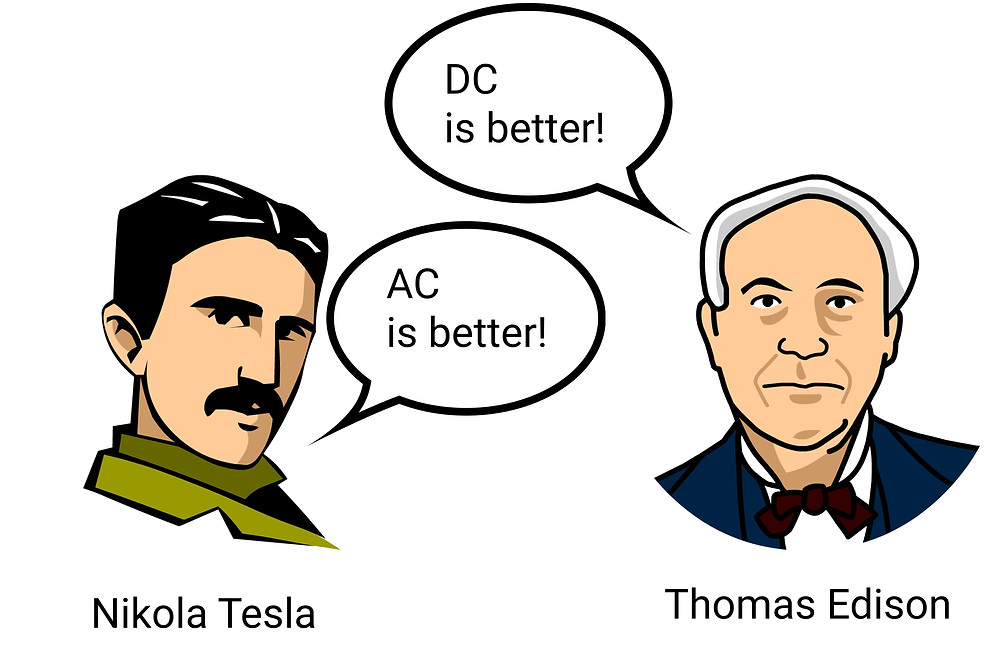Tesla and Edison discuss AC and DC current