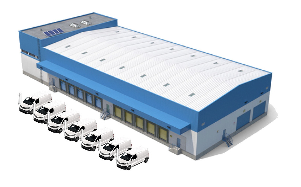 Electric middle mile logistic center that uses intelligent fleet charging