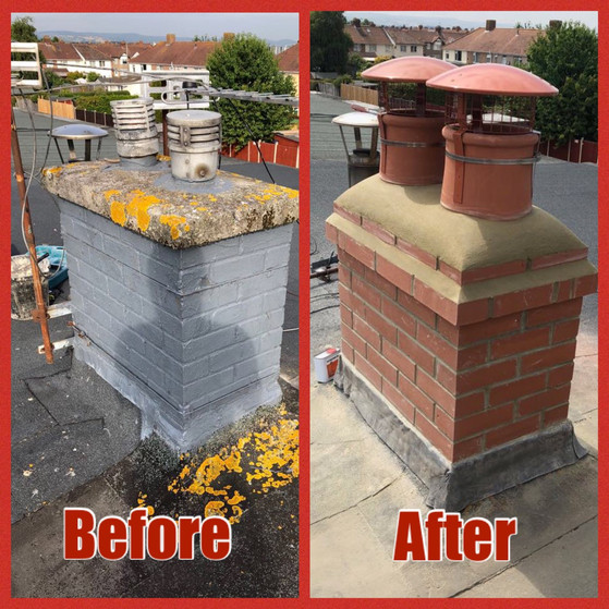 Before and After Chimney Rebuild