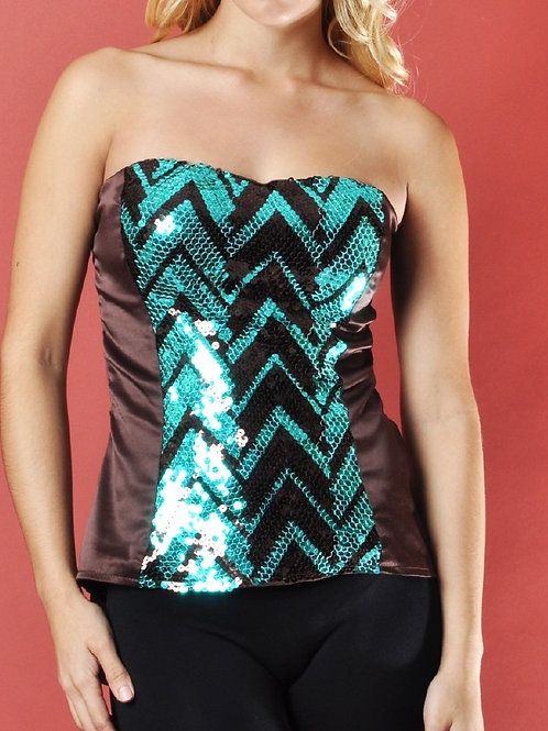 Brown Strapless Top With Aqua And Brown Sequins