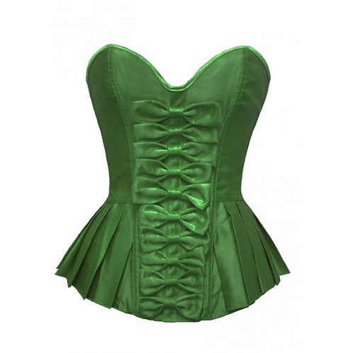 Green Bow Front Corset with Pleated Sides