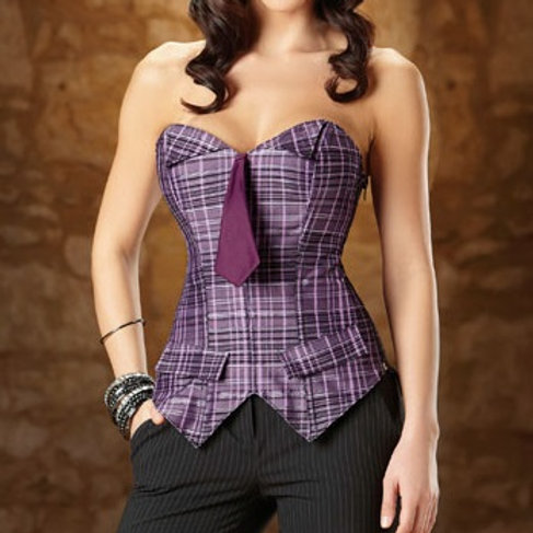 Plaid Corset with Tie