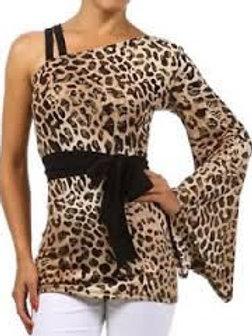 Leopard Print One-Shoulder Top