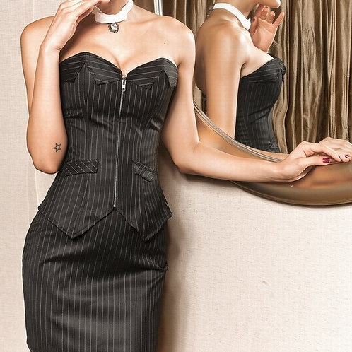 Sexy Boardroom Babe Pinstripe Corset and Skirt