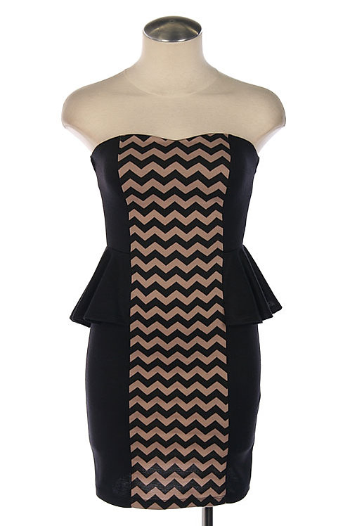 Chevron Print Panel Peplum Dress